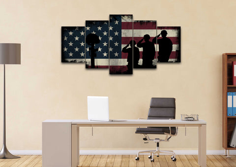Remembering the Sacrifices by the US Army Marines Military American Flag Wall Art Canvas
