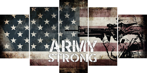 Army Strong on Rustic American Flag Wall Art Canvas