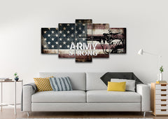 Army Strong on Rustic American Flag Wall Art 5 piece Canvas