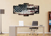 Image of Army Strong on Rustic American Flag Wall Art 5 set office Canvas