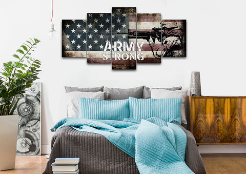 Army Strong on Rustic American Flag Wall Art set of 5 bedroom Canvas