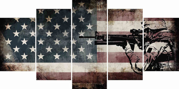 Rustic american flag with us army soldier wall art canvas for Painted american flag wall art