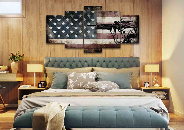 Rustic American Flag With Us Army Soldier Wall Art Canvas