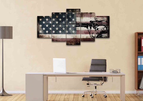 Rustic American Flag with US Army Soldier Wall Art Canvas Painting Decor home office