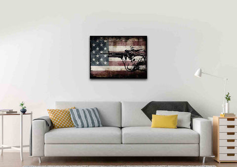 Rustic American Flag with US Army Soldier Wall Art Canvas Painting Decor living room