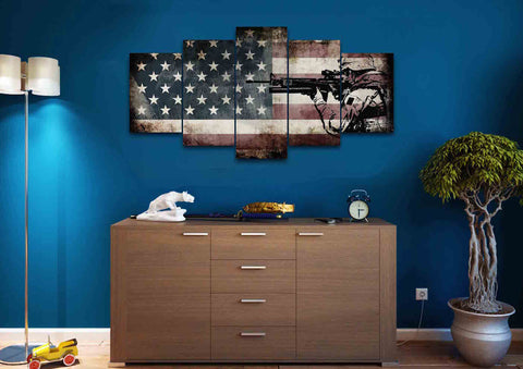 Rustic American Flag with US Army Soldier Wall Art Canvas Painting Decor man cave