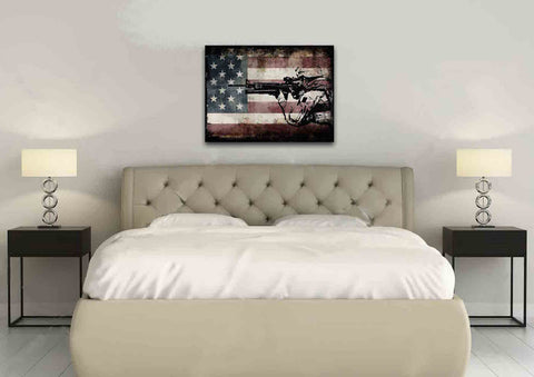 Rustic American Flag with US Army Soldier Wall Art Canvas Painting Decor master bedroom