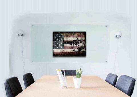 Rustic American Flag with US Army Soldier Wall Art Canvas Painting Decor office room