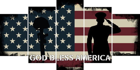 God Bless America Patriotic Wall Art Canvas