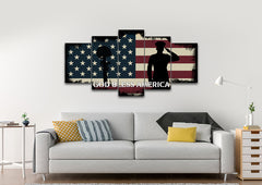 God Bless America Patriotic Wall Art 5 piece living room Canvas