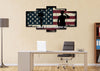 Image of God Bless America Patriotic Wall Art 5 panel office Canvas
