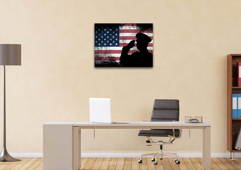 Rustic American Flag and US Military Officer Wall Art Canvas Painting Decor