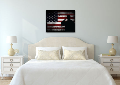 Salute with American Flag-1 panel 18x24 mock up wall art canvas1