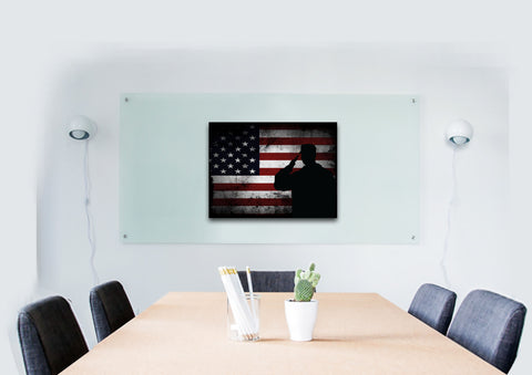 Salute with American Flag-1 panel 18x24 mock up wall art canvas2