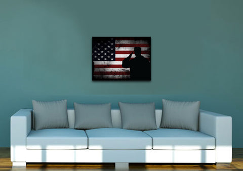 Salute with American Flag-1 panel 18x24 mock up wall art canvas3