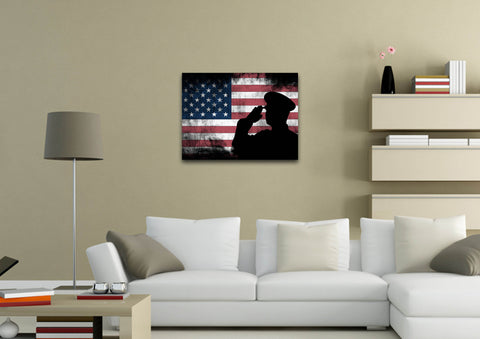 US Army Military Officer Saluting the Patriotic American Flag Wall Art Canvas