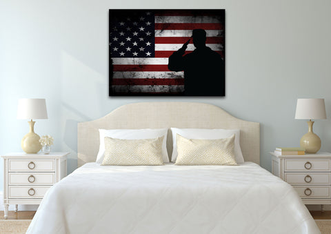 Salute with American Flag 1 panel mock up wall art canvas1