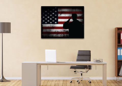 Salute with American Flag 1 panel mock up wall art canvas 2
