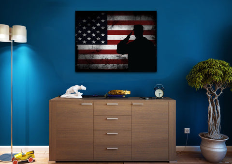 Salute with American Flag 1 panel mock up wall art canvas 3