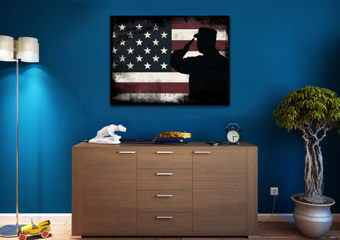 Rustic American Flag Salute wall art canvas painting decor mancave