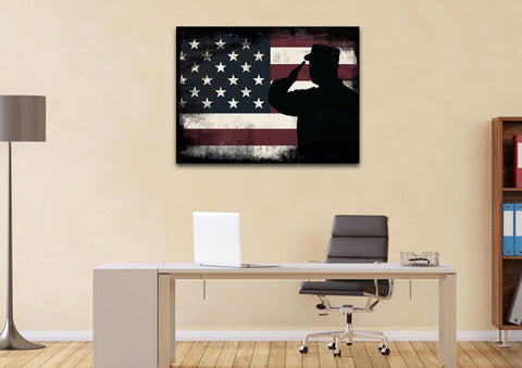 Rustic American Flag Salute wall art canvas painting decor home office
