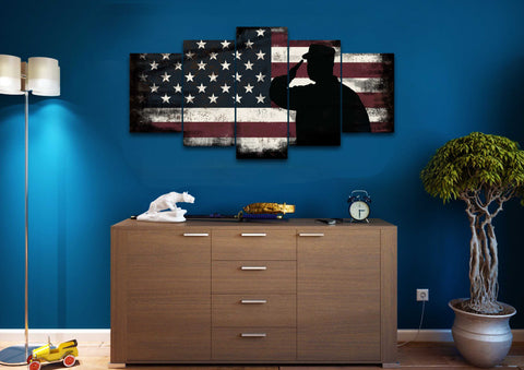 Rustic American Flag Salute wall art canvas painting decor man cave