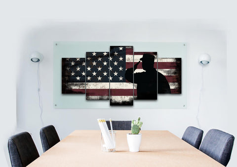 Rustic American Flag Salute Wall Art Canvas Painting Decor