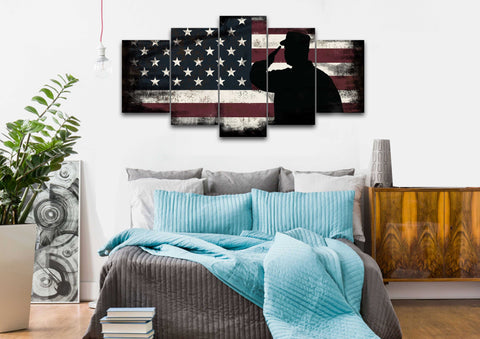 Rustic American Flag Salute wall art canvas painting decor bedroom