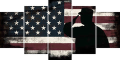 Rustic American Flag Salute wall art canvas painting decor multi panel