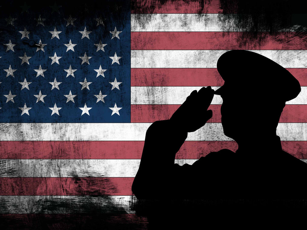 bfeb2653a4e ... US Army Military Officer Saluting the Patriotic American Flag Wall Art  Canvas · Rustic ...