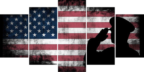 US Army Military Officer Saluting the Patriotic American Flag Wall Art Canvas  UAMOS1-1