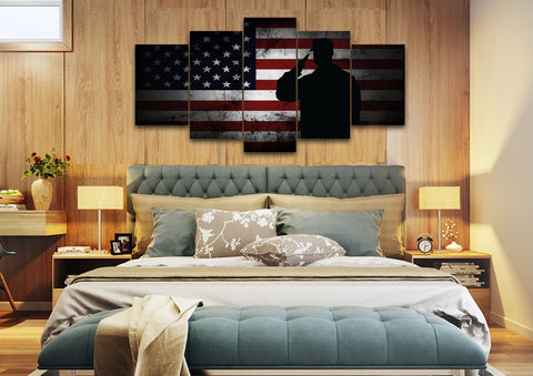 US Marine Saluting the American Flag Military Wall Art Canvas Painting Decor