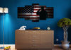 Image of Salute with American Flag 5 panel mock up wall art canvass2