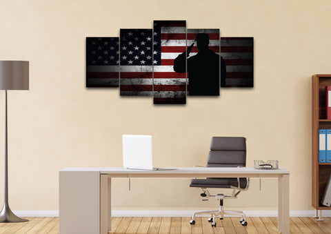 Salute with American Flag 5 panel mock up wall art canvass3