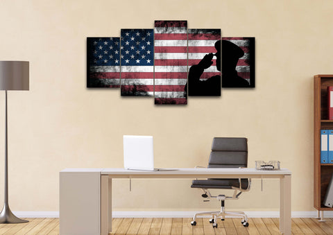 Rustic American Flag and US Military Officer Wall Art Canvas Painting Decor office