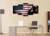 Image of Rustic American Flag and US Military Officer Wall Art Canvas Painting Decor office