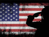Image of US Army Marine Saluting the American Flag Patriotic Military Wall Art Canvas