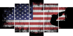 US Army Marine Saluting the American Flag Patriotic Military Wall Art Canvas