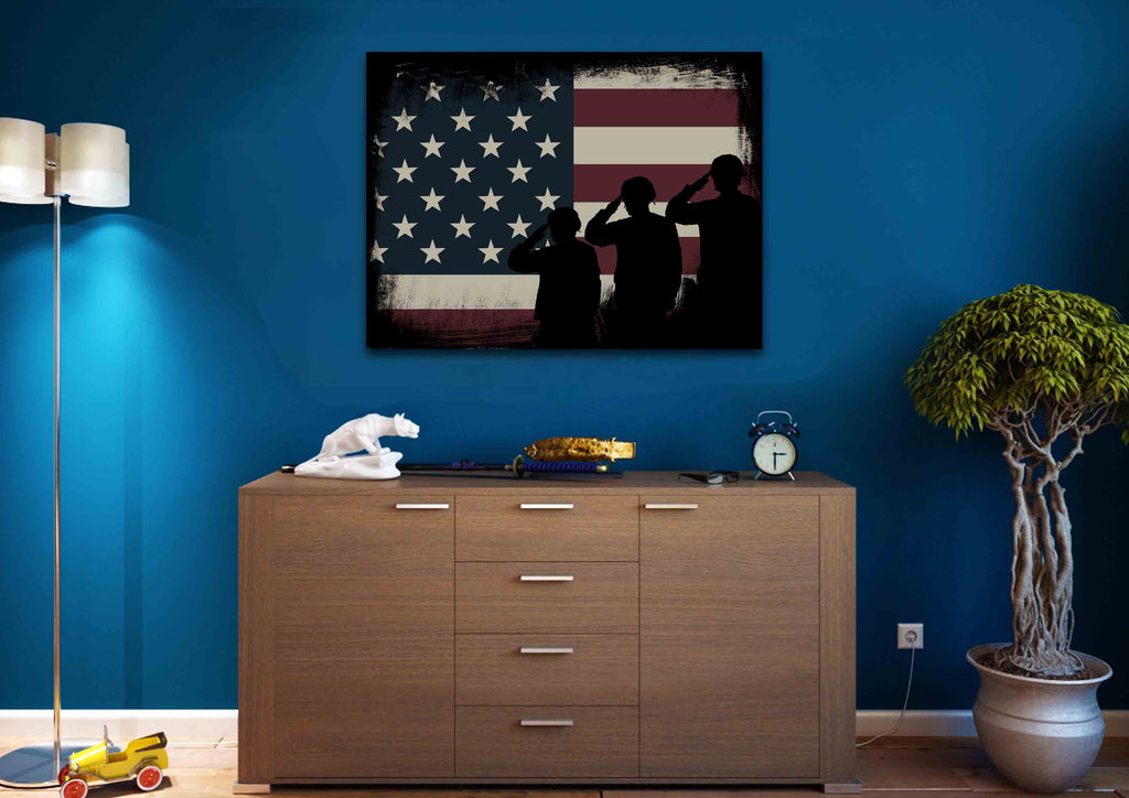 ... Army Rangers Navy Seals Marines Salute Patriotic American Flag Wall Art  Canvas Painting Decor ...