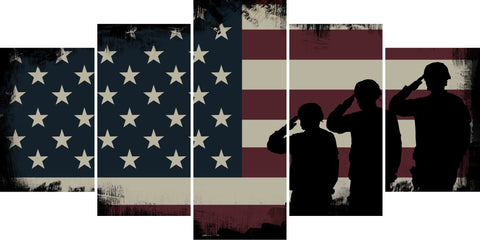 Army Rangers Navy Seals Marines Salute Patriotic American Flag Wall Art Canvas Painting Decor