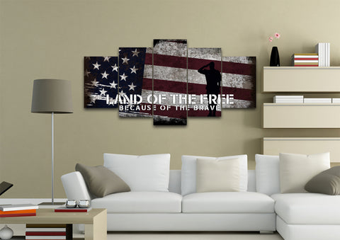 Land of the Free Because of the Brave American Flag Wall Art Canvas