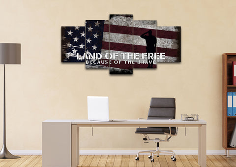 Land of the Free Because of the Brave American Flag Wall Art office Canvas