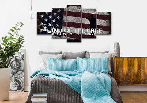 Land of the Free Because of the Brave American Flag Wall Art 5 piece bedroom Canvas