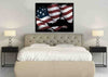 Image of USS Arleigh Burke Navy Destroyer Battle Ship on American Flag Wall Art Canvas