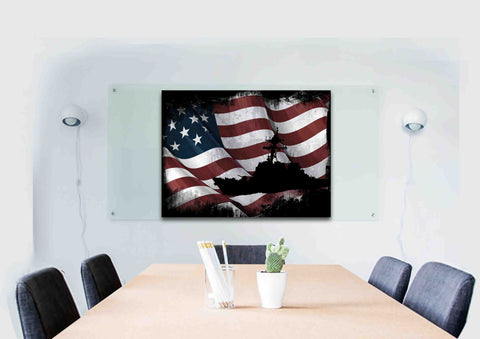 USS Arleigh Burke Navy Destroyer Battle Ship on American Flag Wall Art Canvas