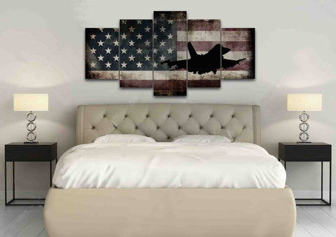 US Airforce Fighter Jet Airplane with American Flag Canvas Wall Art Painting bedroom