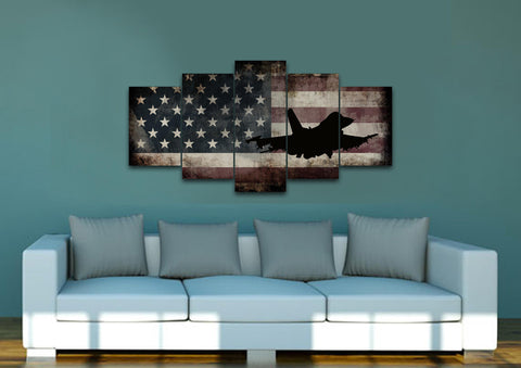 US Airforce Fighter Jet Airplane with American Flag Canvas Wall Art Painting living room