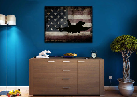 US Airforce Fighter Jet Airplane with American Flag Canvas Wall Art Painting man cave