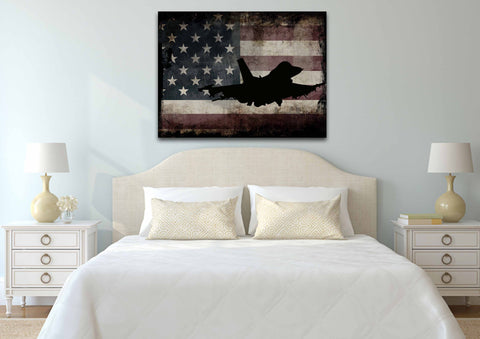 US Airforce Fighter Jet Airplane with American Flag Canvas Wall Art Painting bed room