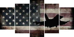 US Airforce Fighter Jet Airplane with American Flag Canvas Wall Art Painting